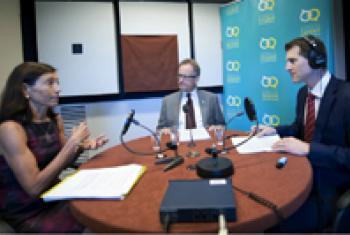 Pamela Hamamoto with Michael Møller (centre) and Daniel Johnson in the UN Radio studio.
