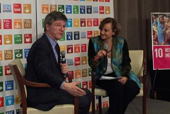 Jeffrey Sachs with Cristina Gallach, head of the UN Department of Public Information, during a recent event at UN Headquarters. UN File Photo.