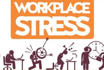 """This year, """"Workplace Stress: a collective challenge"""" is the theme of the campaign of the World Day for Safety and Health at Work. Image: Poster ILO"""