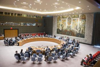 A wide view of the Security Council meeting on the situation in Mali.