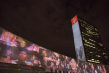 SDGs is projected onto the UN Headquarters.