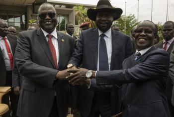 From left: Riek Machar Teny-Dhurgon, First Vice-President of the Republic of South Sudan; President Salva Kiir; and James Wani Igga, Second Vice-President of the Republic of South Sudan.