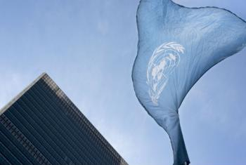 The United Nations flag flies at UN headquarters.