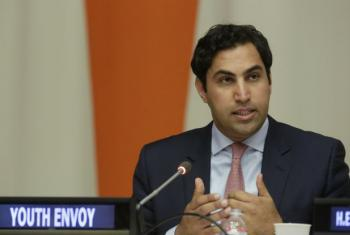 Ahmad Alhendawi, the Secretary-General's Envoy on Youth, addresses the International Youth Day event. UN File Photo/Evan Schneider
