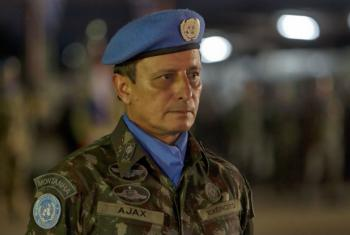Force Commander Lieutenant General Ajax Porto Pinheiro at the Brazilian Base in Port au Prince, Haiti, 2015.