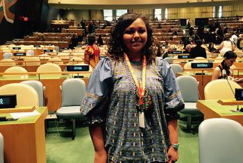 Jandy Craig in the General Assembly hall for the Fifteenth session of the Permanent Forum on Indigenous Issues (UNPFII15). Photo by Janie Cangelosi