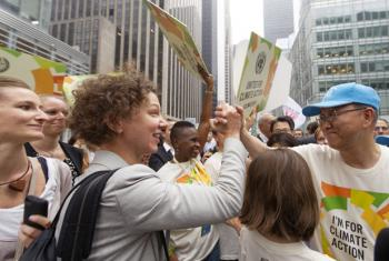 Secretary-General Ban Ki-moon (right) at the People's Climate March held in New York City.