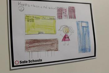 Drawing: Safe Schools, in exhibition at the World Humanitarian Summit.