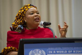 Layman Gbowee speaks at the opening session of the high-level thematic debate on the United Nations, Peace and Security.