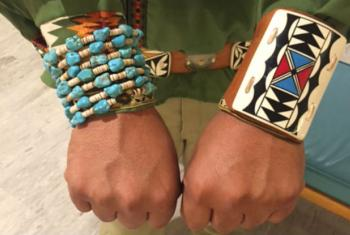 Brian Monongye displays Hopi jewellery at the annual UN forum on indigenous issues.