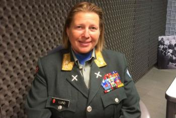 Force Commander Major-General Kristin Lund at the UN Radio studios in New York.