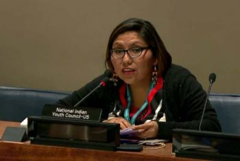 Robin Minthorn speaking at the Permanent Forum on Indigenous Issues.