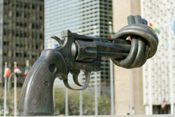 "Sculpture ""Non-Violence"" by Swedish artist Carl Fredrik Reuterswärd. UN File Photo/Michos Tzovaras"