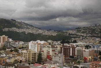An aerial view of Quito, Ecuador.