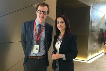 Director David Mason (left) and May Yaacoub at the recent Global Forum of the UN Alliance of Civilizations.