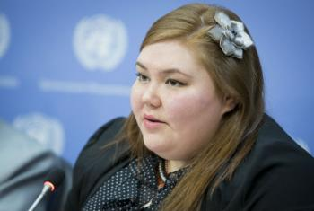 Sarah Lynn Olayok Jancke, Arctic Focal Point to the Global Indigenous Youth Caucus (Canada), speaking at press conference on Indigenous Youth: Overcoming the Challenges of Self-Harm and Suicide.