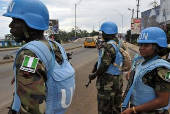 UNMIL Peacekeepers supporting the Liberian National Police in 2011. File