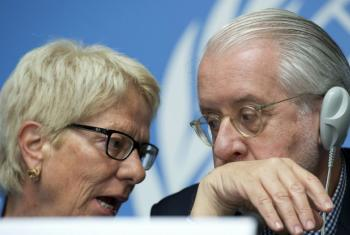 Carla del Ponte and Paulo Pinheiro from the Commission of Inquiry into rights violations in Syria, at a press conference in Geneva.