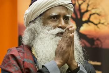 """Yogi Sadhguru Jaggi Vasudev, founder of the Isha Foundation on the occasion of the International Day of Yoga (21 June), at a special event entitled, """"Conversation with Yoga Masters: Yoga for the achievement of Sustainable Development Goals"""", at UN headqua"""