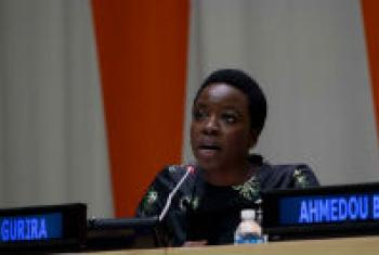 Danai Gurira speaking at an event on the International Day for the Elimination of SVC.