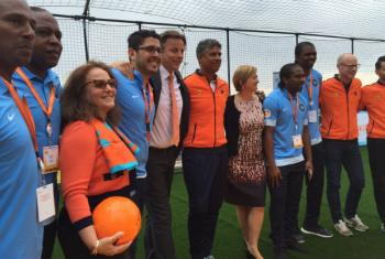 Foreign Minister of The Netherlands Bert Koenders (third from left) at a sport for peace and development event at the UN Headquarters.