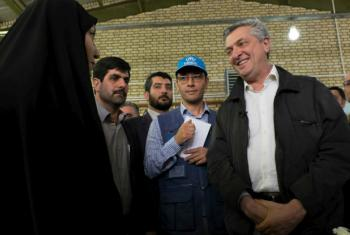 UN High Commissioner for Refugees Filippo Grandi speaks with Afghan refugee in Iran.