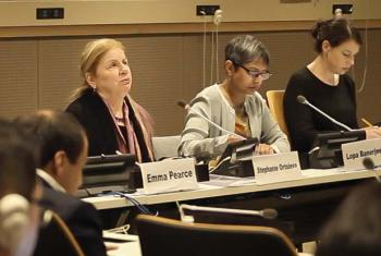 Stephanie Ortoleva, center, at a side event of the Convention on the Rights of Persons with Disabilities.