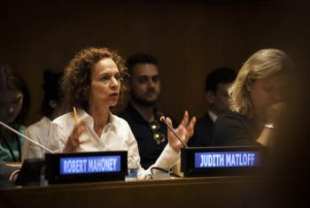 Judith Maltoff speaks in a panel at the UN about how to improve the safety of journalists working in the field.