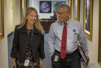 NASA Deputy Administrator Dr. Dava Newman walks to a meeting with NASA Administrator Charles Bolden, on her first day on the job at NASA Headquarters in Washington D.C. Credits: NASA/Bill Ingalls