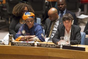 Zeinab Hawa Bangura (left), Special Representative of the UN Secretary-General on Sexual Violence in Conflict, with Lisa Davis, civil society representative.