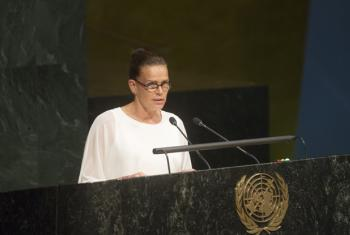Goodwill Ambassador of the Joint United Nations Programme on HIV and AIDS (UNAIDS), Princess Stéphanie of Monaco, addresses the General Assembly High-level Meeting on HIV/AIDS.