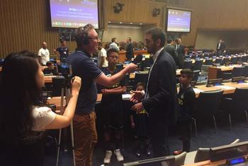 UN Radio's Matthew Wells (left) interviews Stefano Capellini (right).