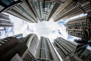 High rises and hotel buildings in Punta Pacifica, Panama City, Panama.