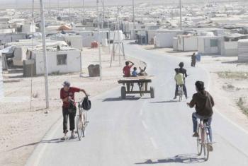 View over Za'atari Refugee Camp in Jordan housing Syrian Refugees.