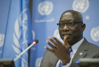 Special Adviser to the Secretary-General on the Prevention of Genocide, Mr. Adama Dieng, briefs the press. UN File Photo/Amanda Voisard