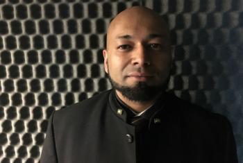 Mubin Shaikh in the UN Radio studios in New York.
