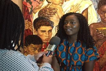 Pearl Afua, Ghana Youth Observer to the United Nations at the 71st UN General Assembly ahead of the High-Level Pathways to Zero Hunger event UN Radio/ Priyanka Shankar
