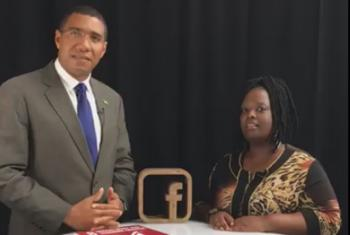 Jamaica Prime Minister and Jocelyne Sambira during a FB live event on the margins of the UN General Assembly debate (Screenshot)