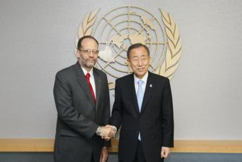CARICOM Secretary-General AmbassadorIrwin LaRocque with UN Secretary-General Ban Ki-moon. UN File Photo/JC McIlwaine