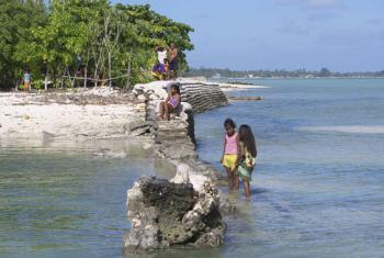 Children in the village of Tebikenikora, on Kiribati's main Tarawa atoll. Will they have to move one day as a result of climate change?