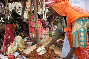 A woman buys dates at the market in the town of Bol on the outskirts of Lake Chad.