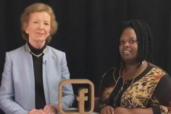 Mary Robinson (left) is interviewed by Jocelyne Sambira of UN Radio. (Screenshot of UN FB live event at #UNGA)