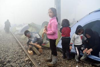 Child refugees in Idomeni, Greece, March 2016.