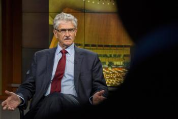 Mogens Lykketoft gives an interview for the UN News and Media Division's news outlets on the Assembly's work during its current session.