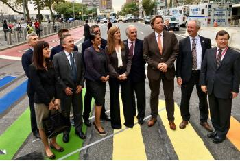 Representatives of the LGBT Core Group, including Samantha Power (centre), United States Ambassador to the UN, assemble at the rainbow crossing on 1st Avenue and 46th Street. OHCHR Photo/Charles Radcliffe