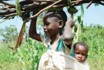 A young girl carries her sibling on her back and firewood on the head.