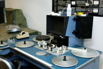 A film editing machine at the UN Department of Public Information (DPI) film and video archives, Audiovisual Services Section.