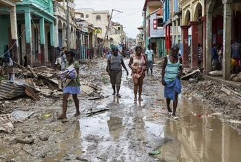 Scene from Les Cayes, Haiti, in the aftermath of Hurricane Matthew, the category 4 storm which made landfall in the country on 4 October.