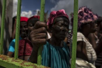 Women in line at a food distribution site in Les Cayes, Haiti.