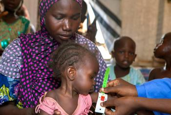 A nutrition screening for children in the Dalori camp for internally displaced people, in the north-eastern city of Maiduguri in Borno State, Nigeria.